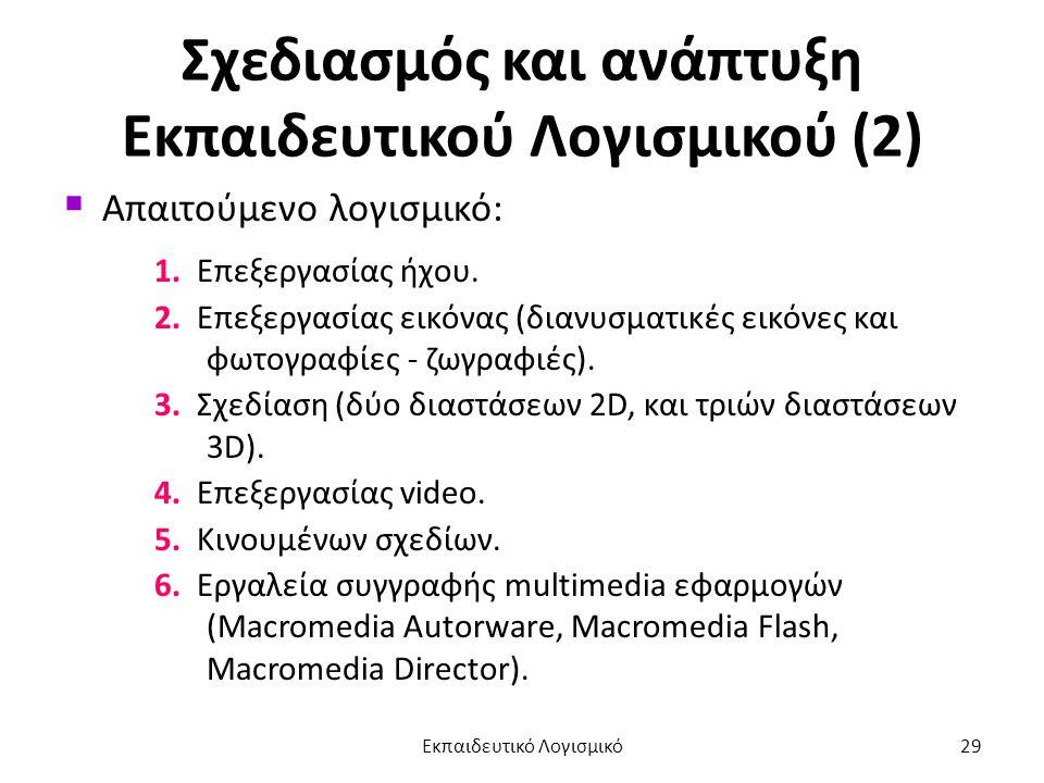 Σχεδιασμός και ανάπτυξη Εκπαιδευτικού Λογισμικού (2)  Απαιτούμενο λογισμικό: 1. Επεξεργασίας ήχου. 2. Επεξεργασίας εικόνας (διανυσματικές εικόνες και