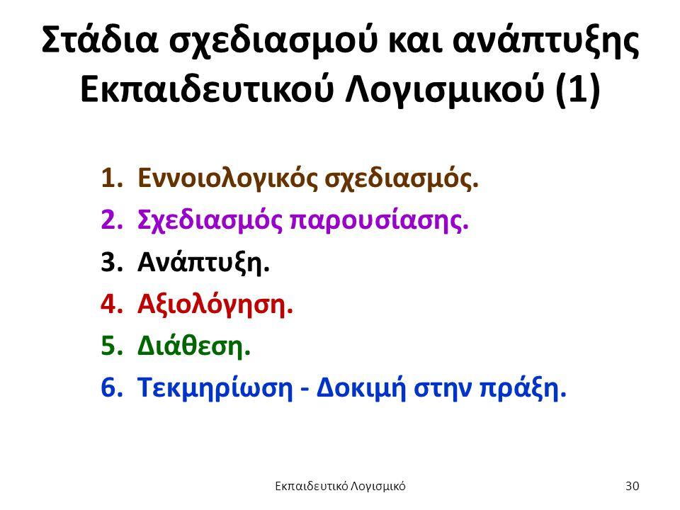 Στάδια σχεδιασμού και ανάπτυξης Εκπαιδευτικού Λογισμικού (1) 1. Εννοιολογικός σχεδιασμός. 2. Σχεδιασμός παρουσίασης. 3. Ανάπτυξη. 4. Αξιολόγηση. 5. Δι