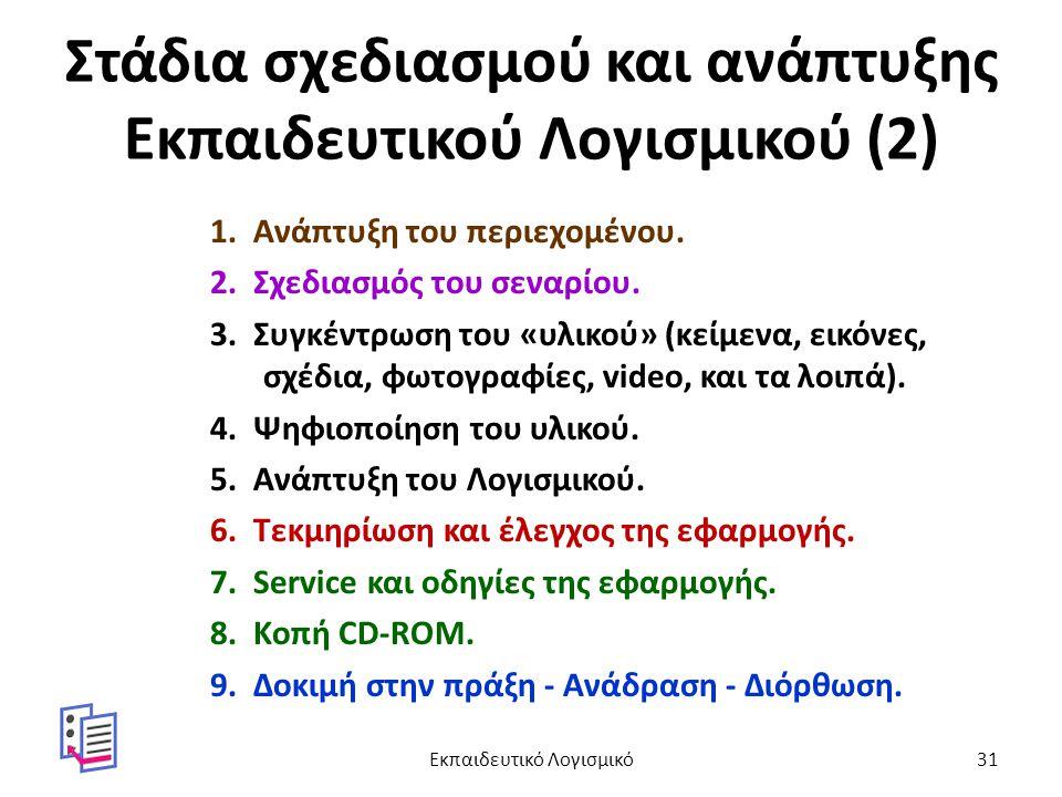 Στάδια σχεδιασμού και ανάπτυξης Εκπαιδευτικού Λογισμικού (2) 1. Ανάπτυξη του περιεχομένου. 2. Σχεδιασμός του σεναρίου. 3. Συγκέντρωση του «υλικού» (κε