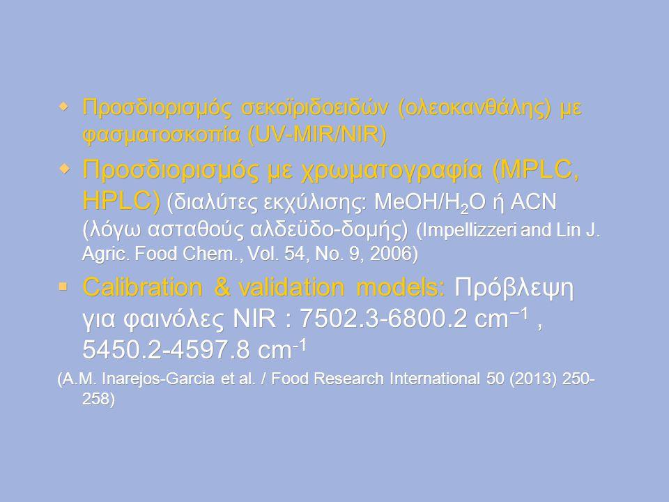  Προσδιορισμός σεκοϊριδοειδών (ολεοκανθάλης) με φασματοσκοπία (UV-MIR/NIR)  Προσδιορισμός με χρωματογραφία (MPLC, HPLC) (διαλύτες εκχύλισης: MeOH/H