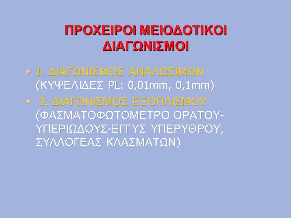 ΠΡΟΧΕΙΡΟΙ ΜΕΙΟΔΟΤΙΚΟΙ ΔΙΑΓΩΝΙΣΜΟΙ  1. ΔΙΑΓΩΝΙΣΜΟΣ ΑΝΑΛΩΣΙΜΩΝ ( ΚΥΨΕΛΙΔΕΣ PL: 0,01mm, 0,1mm)  2. ΔΙΑΓΩΝΙΣΜΟΣ ΕΞΟΠΛΙΣΜΟΥ ( ΦΑΣΜΑΤΟΦΩΤΟΜΕΤΡΟ ΟΡΑΤΟΥ - Υ
