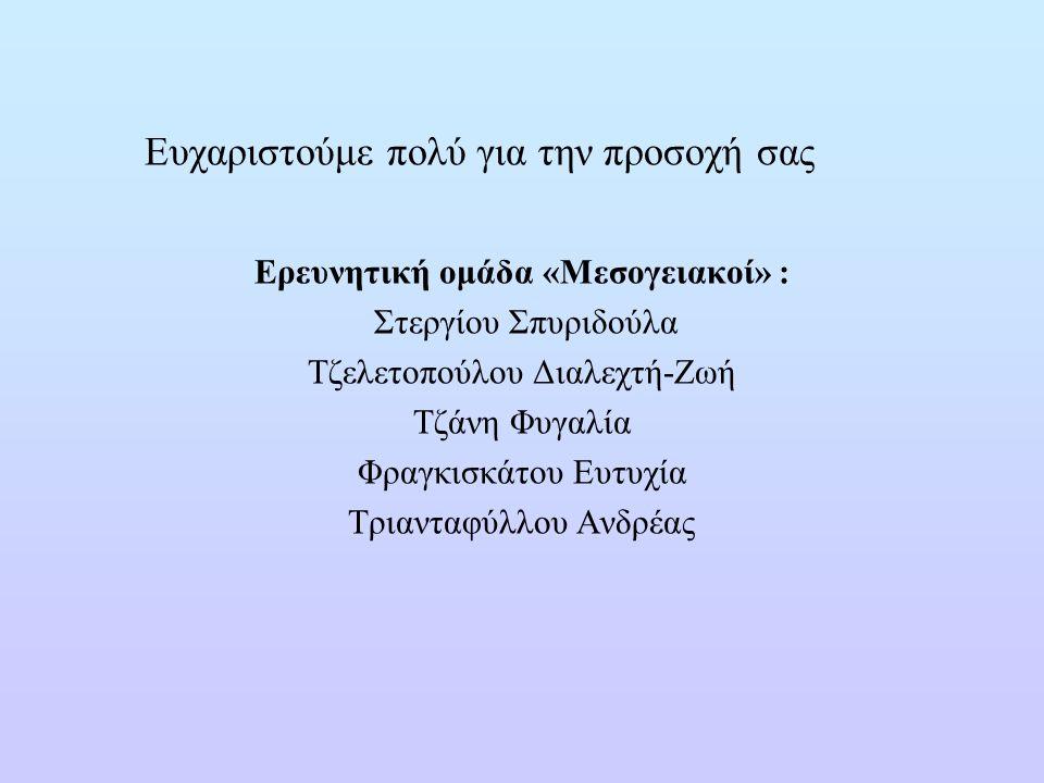 Ευχαριστούμε πολύ για την προσοχή σας Ερευνητική ομάδα «Μεσογειακοί» : Στεργίου Σπυριδούλα Τζελετοπούλου Διαλεχτή-Ζωή Τζάνη Φυγαλία Φραγκισκάτου Ευτυχ