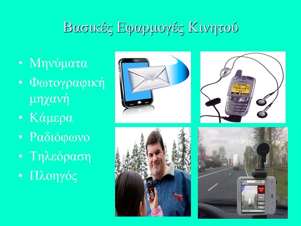 Βασικές Εφαρμογές Κινητού Μηνύματα Φωτογραφική μηχανή Κάμερα Ραδιόφωνο Τηλεόραση Πλοηγός