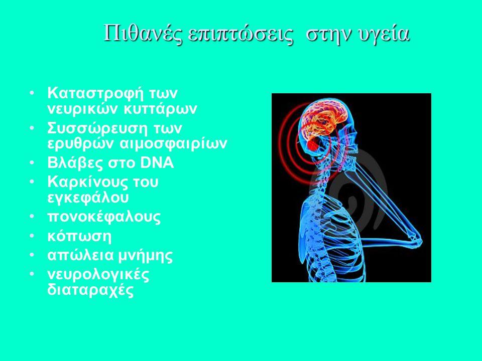 Πιθανές επιπτώσεις στην υγεία Καταστροφή των νευρικών κυττάρων Συσσώρευση των ερυθρών αιμοσφαιρίων Bλάβες στο DNA Καρκίνους του εγκεφάλου πονοκέφαλους