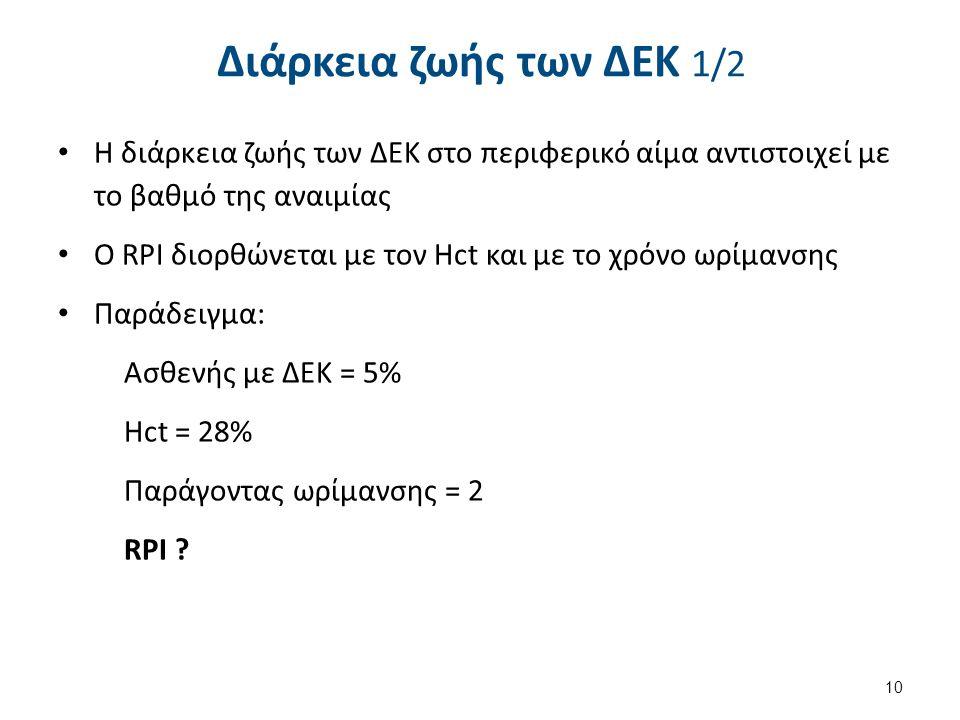 Διάρκεια ζωής των ΔΕΚ 1/2 Η διάρκεια ζωής των ΔΕΚ στο περιφερικό αίμα αντιστοιχεί με το βαθμό της αναιμίας Ο RPI διορθώνεται με τον Hct και με το χρόν
