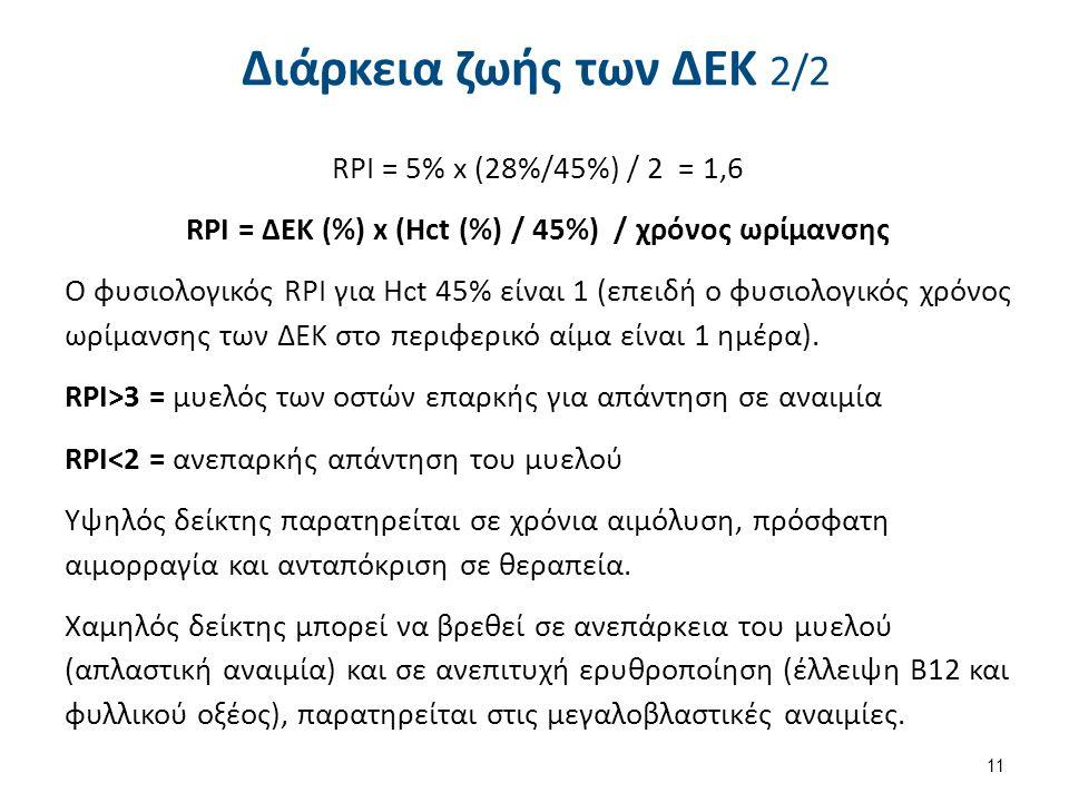 Διάρκεια ζωής των ΔΕΚ 2/2 RPI = 5% x (28%/45%) / 2 = 1,6 RPI = ΔΕΚ (%) x (Hct (%) / 45%) / χρόνος ωρίμανσης O φυσιολογικός RPI για Hct 45% είναι 1 (επ