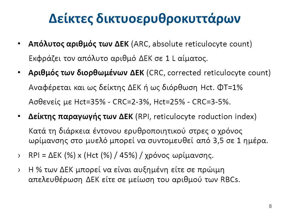 Δείκτες δικτυοερυθροκυττάρων Απόλυτος αριθμός των ΔΕΚ (ARC, absolute reticulocyte count) Εκφράζει τον απόλυτο αριθμό ΔΕΚ σε 1 L αίματος. Αριθμός των δ