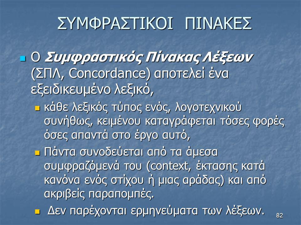 ΣΥΜΦΡΑΣΤΙΚΟΙ ΠΙΝΑΚΕΣ Ο Συμφραστικός Πίνακας Λέξεων (ΣΠΛ, Concordance) αποτελεί ένα εξειδικευμένο λεξικό, Ο Συμφραστικός Πίνακας Λέξεων (ΣΠΛ, Concordan