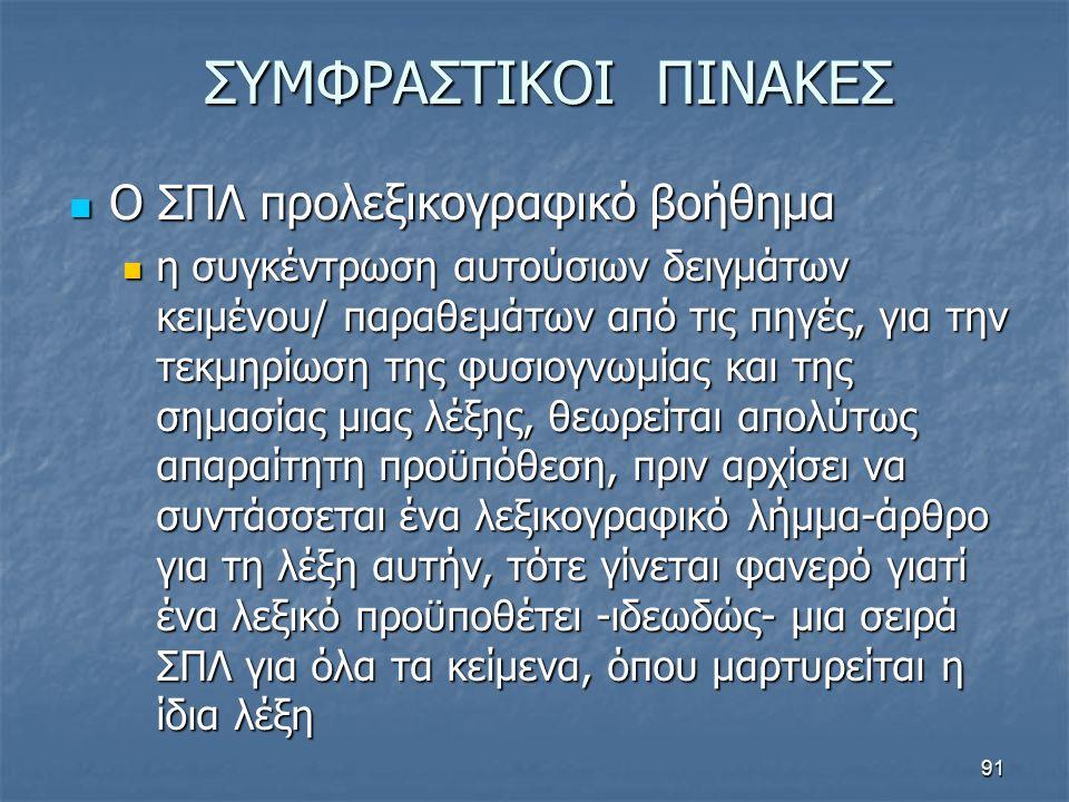ΣΥΜΦΡΑΣΤΙΚΟΙ ΠΙΝΑΚΕΣ Ο ΣΠΛ προλεξικογραφικό βοήθημα Ο ΣΠΛ προλεξικογραφικό βοήθημα η συγκέντρωση αυτούσιων δειγμάτων κειμένου/ παραθεμάτων από τις πηγ
