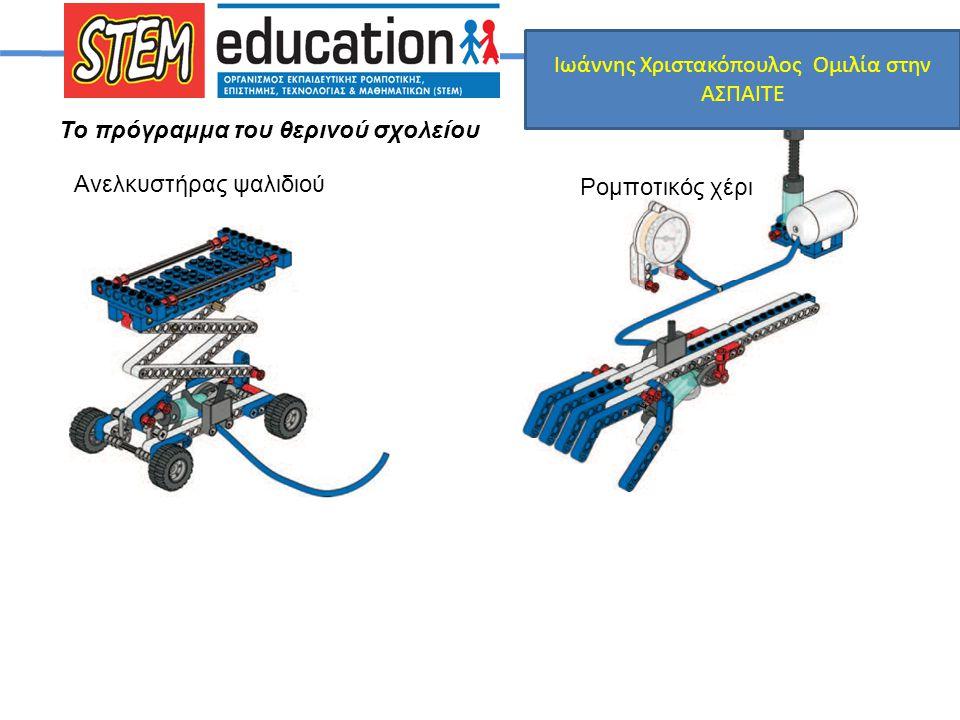 Το πρόγραμμα του θερινού σχολείου Ανελκυστήρας ψαλιδιού Ρομποτικός χέρι Ιωάννης Χριστακόπουλος Ομιλία στην ΑΣΠΑΙΤΕ