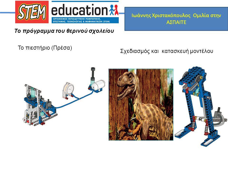 Το πρόγραμμα του θερινού σχολείου Το πιεστήριο (Πρέσα) Σχεδιασμός και κατασκευή μοντέλου Ιωάννης Χριστακόπουλος Ομιλία στην ΑΣΠΑΙΤΕ
