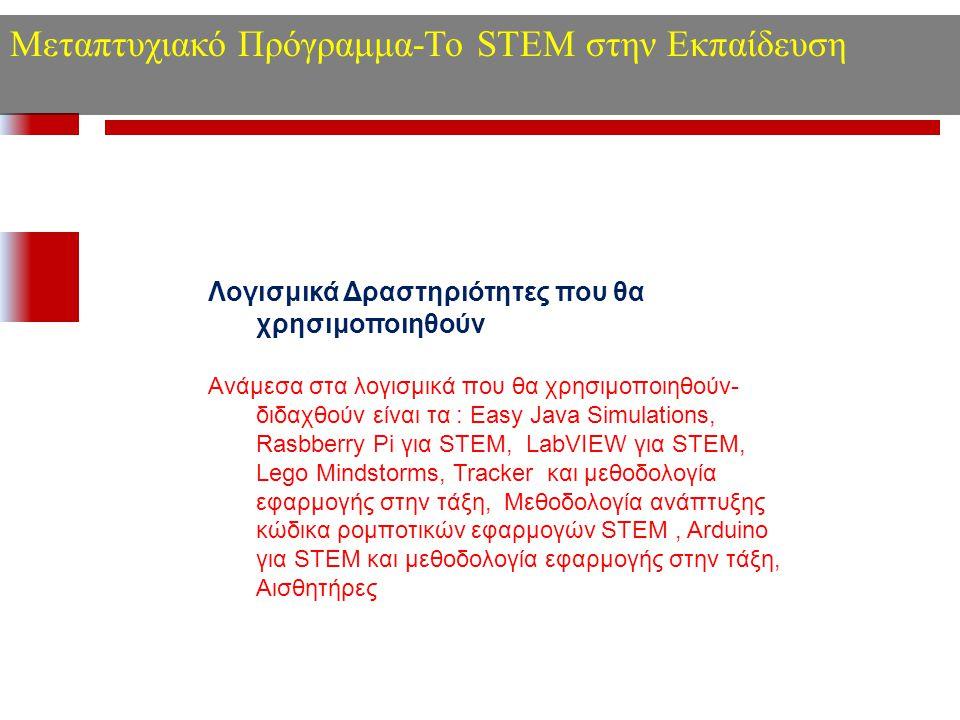 Μεταπτυχιακό Πρόγραμμα-Το STEM στην Εκπαίδευση Λογισμικά Δραστηριότητες που θα χρησιμοποιηθούν Ανάμεσα στα λογισμικά που θα χρησιμοποιηθούν- διδαχθούν