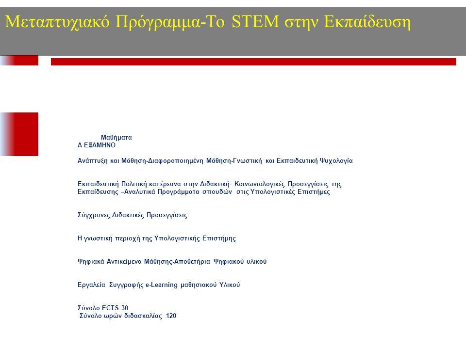 Μεταπτυχιακό Πρόγραμμα-Το STEM στην Εκπαίδευση Μαθήματα Α ΕΞΑΜΗΝΟ Ανάπτυξη και Μάθηση-Διαφοροποιημένη Μάθηση-Γνωστική και Εκπαιδευτική Ψυχολογία Εκπαι