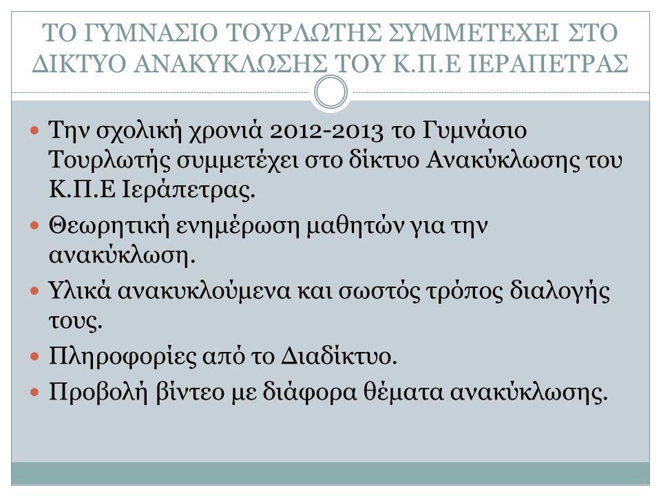 ΤΟ ΓΥΜΝΑΣΙΟ ΤΟΥΡΛΩΤΗΣ ΣΥΜΜΕΤΕΧΕΙ ΣΤΟ ΔΙΚΤΥΟ ΑΝΑΚΥΚΛΩΣΗΣ ΤΟΥ Κ.Π.Ε ΙΕΡΑΠΕΤΡΑΣ Την σχολική χρονιά 2012-2013 το Γυμνάσιο Τουρλωτής συμμετέχει στο δίκτυο Ανακύκλωσης του Κ.Π.Ε Ιεράπετρας.
