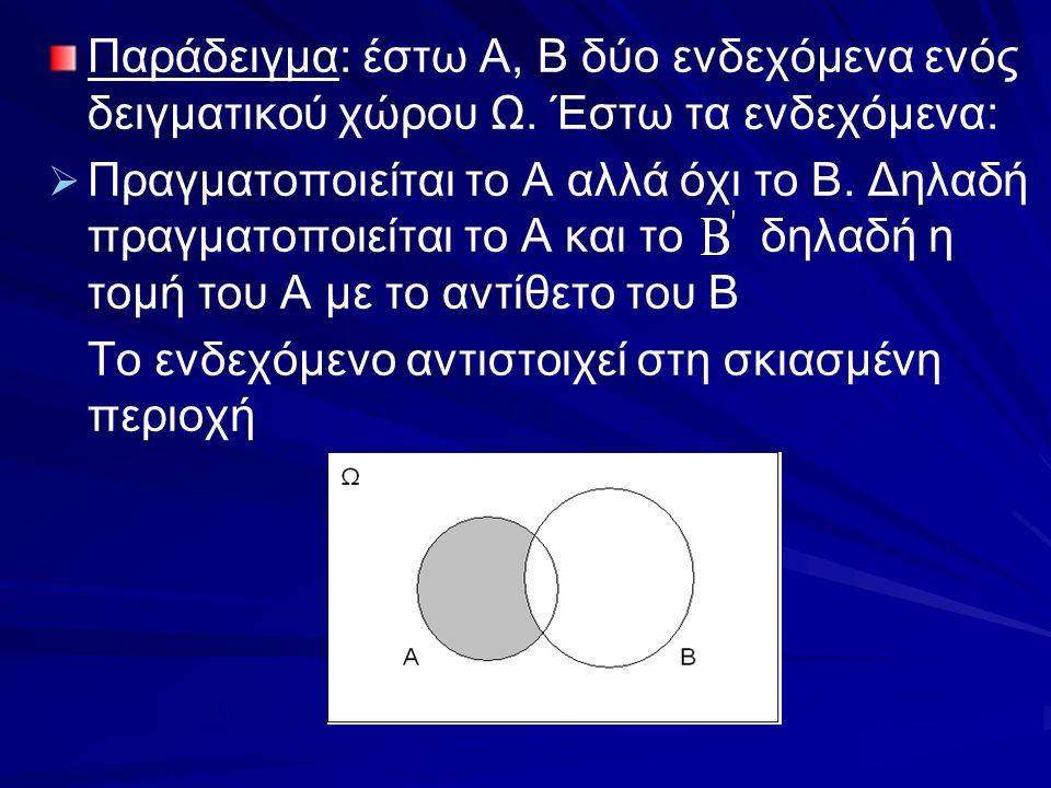 Παράδειγμα: έστω Α, Β δύο ενδεχόμενα ενός δειγματικού χώρου Ω. Έστω τα ενδεχόμενα:   Πραγματοποιείται το Α αλλά όχι το Β. Δηλαδή πραγματοποιείται το