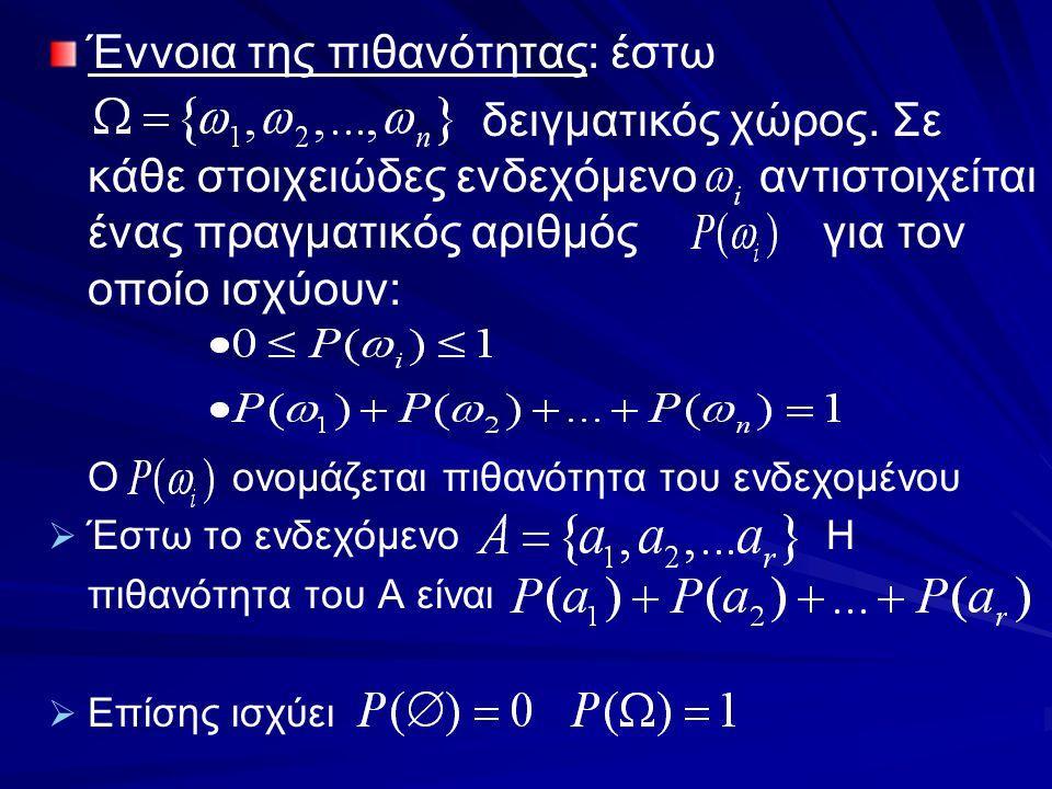 Έννοια της πιθανότητας: έστω δειγματικός χώρος. Σε κάθε στοιχειώδες ενδεχόμενο αντιστοιχείται ένας πραγματικός αριθμός για τον οποίο ισχύουν: Ο ονομάζ
