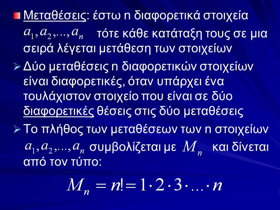 Μεταθέσεις: έστω n διαφορετικά στοιχεία τότε κάθε κατάταξη τους σε μια σειρά λέγεται μετάθεση των στοιχείων   Δύο μεταθέσεις n διαφορετικών στοιχείω