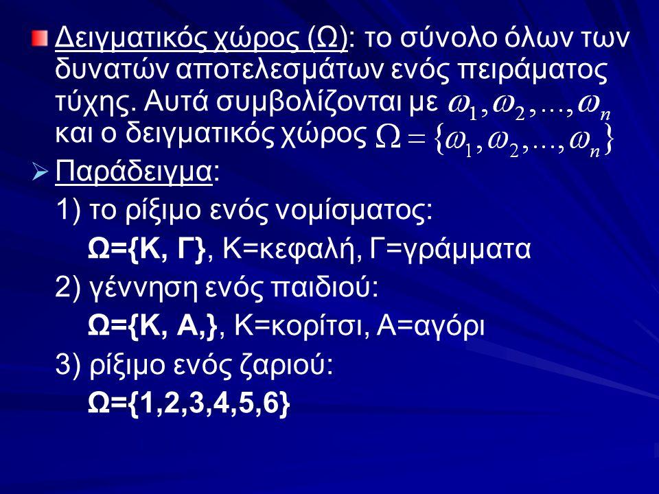 Δειγματικός χώρος (Ω): το σύνολο όλων των δυνατών αποτελεσμάτων ενός πειράματος τύχης. Αυτά συμβολίζονται με και ο δειγματικός χώρος   Παράδειγμα: 1
