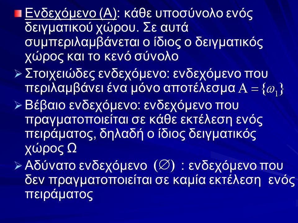Παράδειγμα: έστω οι λέξεις που σχηματίζονται από τα γράμματα {Α,Β,Γ,α,β,γ} (το καθένα χρησιμοποιείται μια φορά)   Το σύνολο των λέξεων είναι όσες οι μεταθέσεις των έξι στοιχείων   Έστω το ενδεχόμενο Α: 'Η λέξη αρχίζει με κεφαλαίο φωνήεν και τελειώνει σε μικρό φωνήεν'   Πρώτο γράμμα: επιλέγεται μόνο με έναν τρόπο (έχουμε διαθέσιμο μόνο ένα κεφαλαίο φωνήεν)