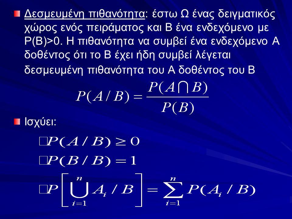 Δεσμευμένη πιθανότητα: έστω Ω ένας δειγματικός χώρος ενός πειράματος και Β ένα ενδεχόμενο με P(B)>0. Η πιθανότητα να συμβεί ένα ενδεχόμενο Α δοθέντος