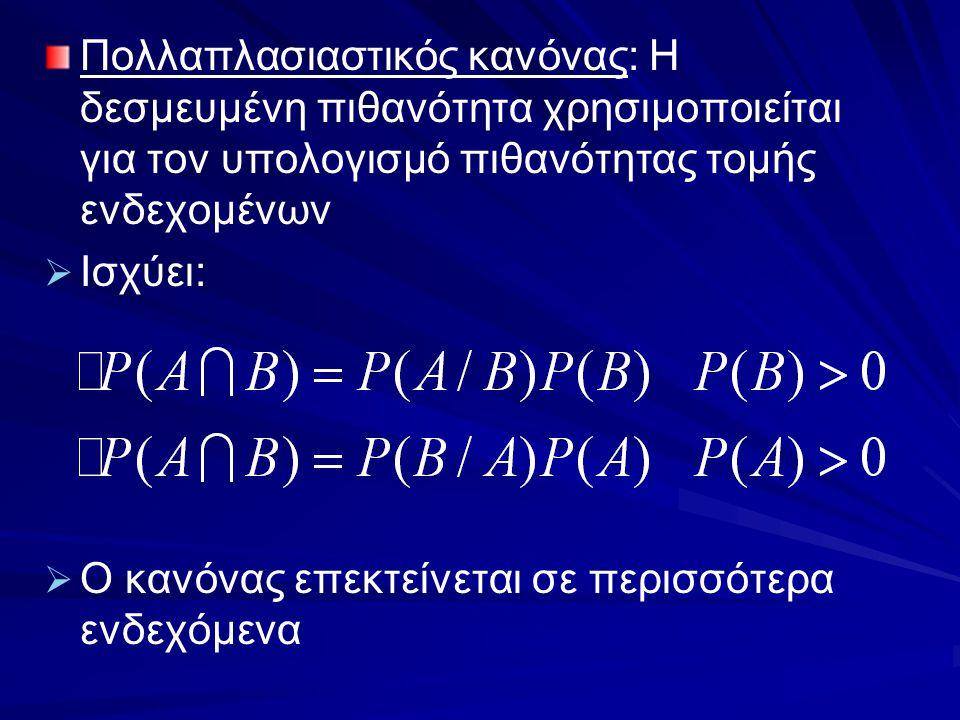 Πολλαπλασιαστικός κανόνας: Η δεσμευμένη πιθανότητα χρησιμοποιείται για τον υπολογισμό πιθανότητας τομής ενδεχομένων   Ισχύει:   Ο κανόνας επεκτείν
