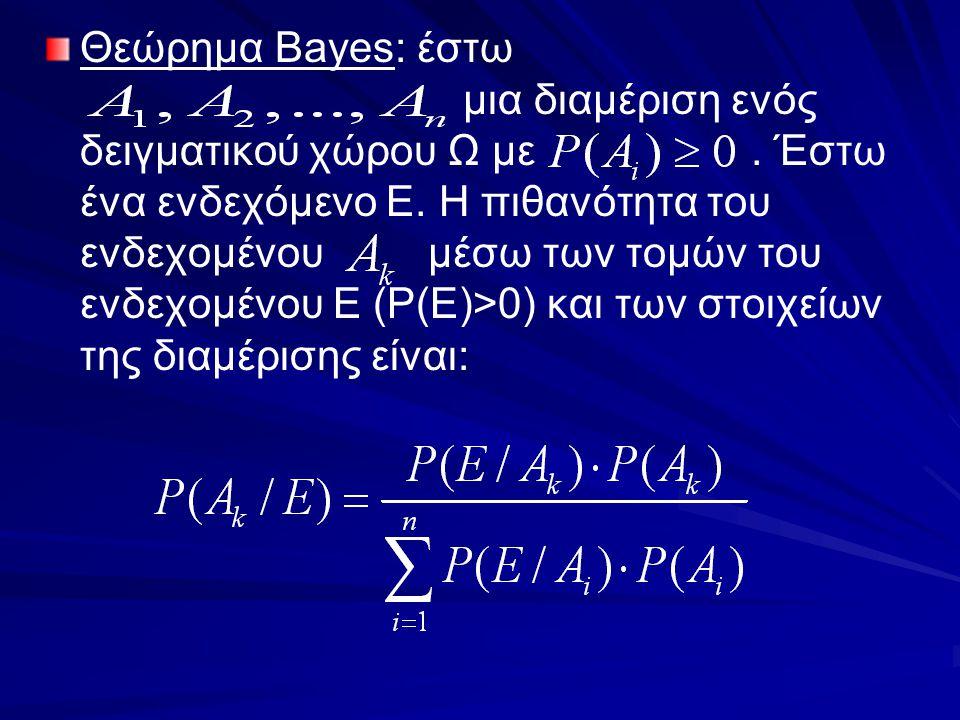 Θεώρημα Bayes: έστω μια διαμέριση ενός δειγματικού χώρου Ω με. Έστω ένα ενδεχόμενο Ε. Η πιθανότητα του ενδεχομένου μέσω των τομών του ενδεχομένου Ε (P