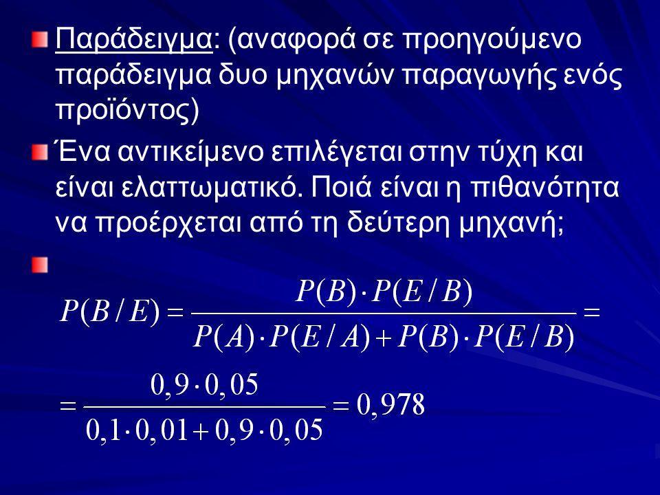Παράδειγμα: (αναφορά σε προηγούμενο παράδειγμα δυο μηχανών παραγωγής ενός προϊόντος) Ένα αντικείμενο επιλέγεται στην τύχη και είναι ελαττωματικό. Ποιά