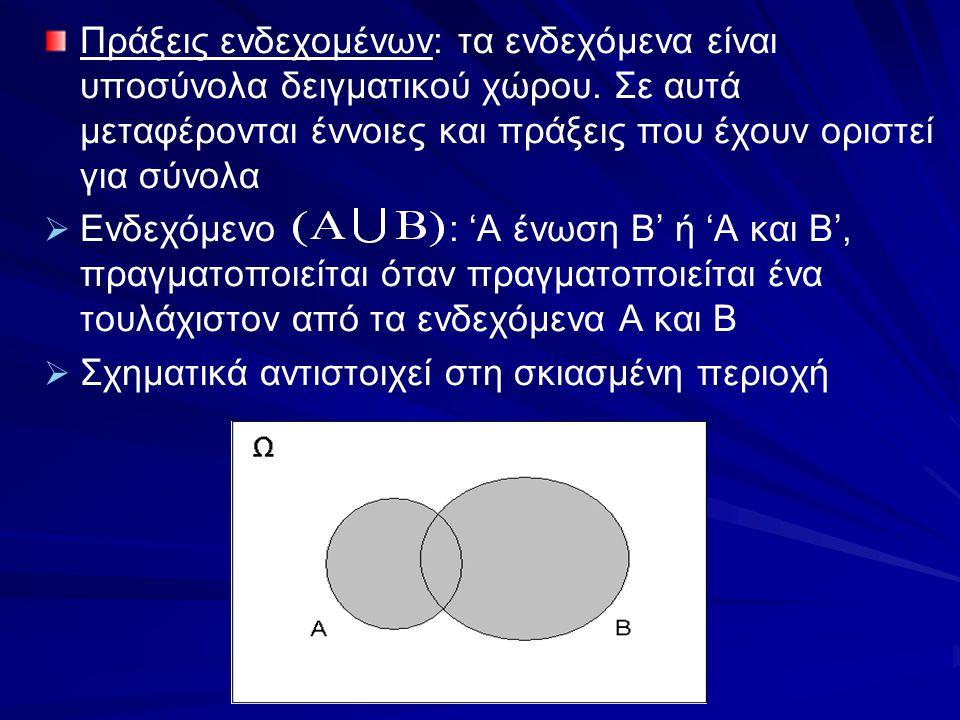   Ενδεχόμενο : 'Α τομή Β' ή 'Α και Β', πραγματοποιείται όταν πραγματοποιούνται συγχρόνως τα ενδεχόμενα Α και Β   Σχηματικά αντιστοιχεί στη σκιασμένη περιοχή