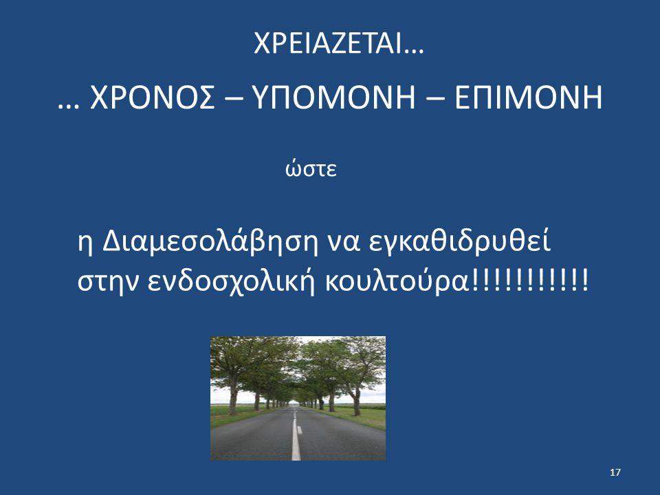 17 … ΧΡΟΝΟΣ – ΥΠΟΜΟΝΗ – ΕΠΙΜΟΝΗ ώστε η Διαμεσολάβηση να εγκαθιδρυθεί στην ενδοσχολική κουλτούρα!!!!!!!!!!.