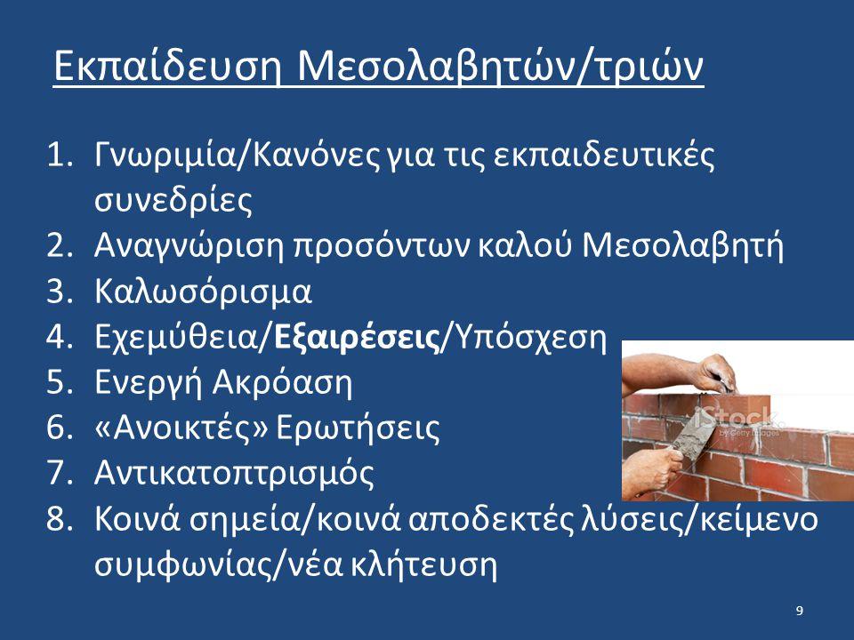 9 Εκπαίδευση Μεσολαβητών/τριών 1.Γνωριμία/Κανόνες για τις εκπαιδευτικές συνεδρίες 2.Αναγνώριση προσόντων καλού Μεσολαβητή 3.Καλωσόρισμα 4.Εχεμύθεια/Εξαιρέσεις/Υπόσχεση 5.Ενεργή Ακρόαση 6.«Ανοικτές» Ερωτήσεις 7.Αντικατοπτρισμός 8.Κοινά σημεία/κοινά αποδεκτές λύσεις/κείμενο συμφωνίας/νέα κλήτευση