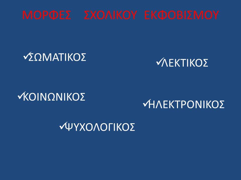 ΜΟΡΦΕΣ ΣΧΟΛΙΚΟΥ ΕΚΦΟΒΙΣΜΟΥ ΣΩΜΑΤΙΚΟΣ ΛΕΚΤΙΚΟΣ ΚΟΙΝΩΝΙΚΟΣ ΗΛΕΚΤΡΟΝΙΚΟΣ ΨΥΧΟΛΟΓΙΚΟΣ