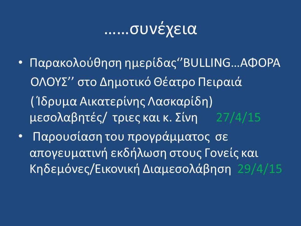 ……συνέχεια Παρακολούθηση ημερίδας''BULLING…ΑΦΟΡΑ ΟΛΟΥΣ'' στο Δημοτικό Θέατρο Πειραιά ( Ίδρυμα Αικατερίνης Λασκαρίδη) μεσολαβητές/ τριες και κ.