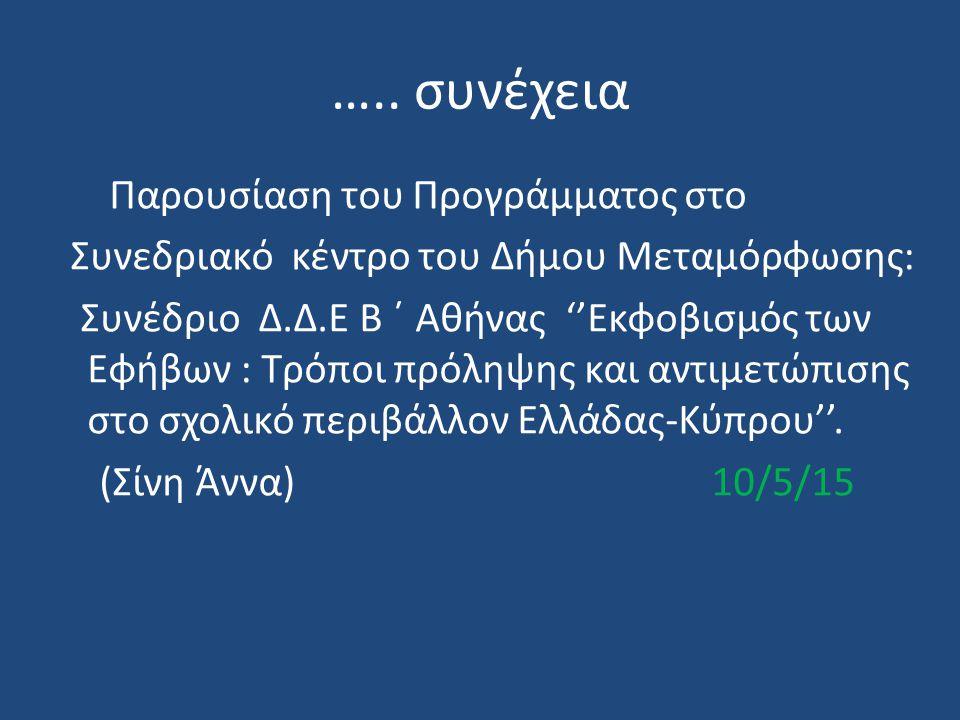 ….. συνέχεια Παρουσίαση του Προγράμματος στο Συνεδριακό κέντρο του Δήμου Μεταμόρφωσης: Συνέδριο Δ.Δ.Ε Β ΄ Αθήνας ''Εκφοβισμός των Εφήβων : Τρόποι πρόλ