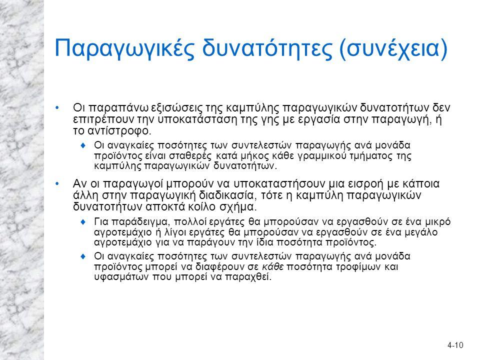 4-10 Παραγωγικές δυνατότητες (συνέχεια) Οι παραπάνω εξισώσεις της καμπύλης παραγωγικών δυνατοτήτων δεν επιτρέπουν την υποκατάσταση της γης με εργασία