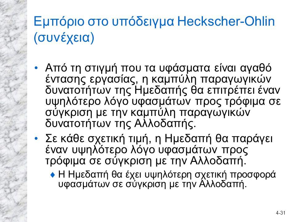 4-31 Εμπόριο στο υπόδειγμα Heckscher-Ohlin (συνέχεια) Από τη στιγμή που τα υφάσματα είναι αγαθό έντασης εργασίας, η καμπύλη παραγωγικών δυνατοτήτων τη