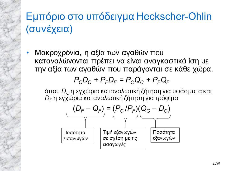 4-35 Εμπόριο στο υπόδειγμα Heckscher-Ohlin (συνέχεια) Μακροχρόνια, η αξία των αγαθών που καταναλώνονται πρέπει να είναι αναγκαστικά ίση με την αξία τω