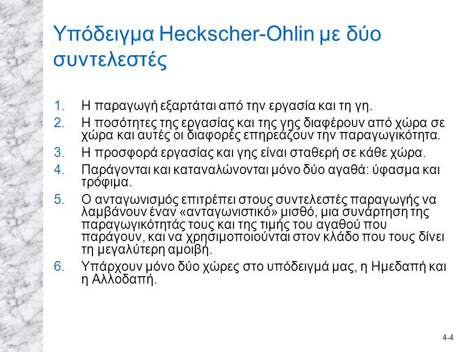 4-4 Υπόδειγμα Heckscher-Ohlin με δύο συντελεστές 1.Η παραγωγή εξαρτάται από την εργασία και τη γη. 2.Η ποσότητες της εργασίας και της γης διαφέρουν απ