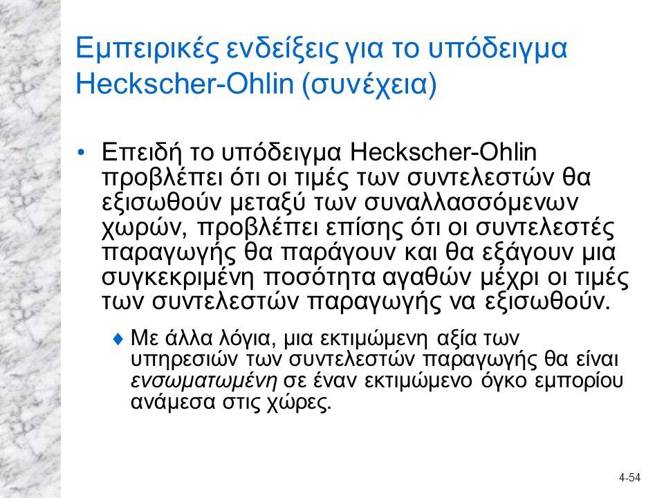 4-54 Εμπειρικές ενδείξεις για το υπόδειγμα Heckscher-Ohlin (συνέχεια) Επειδή το υπόδειγμα Heckscher-Ohlin προβλέπει ότι οι τιμές των συντελεστών θα εξ