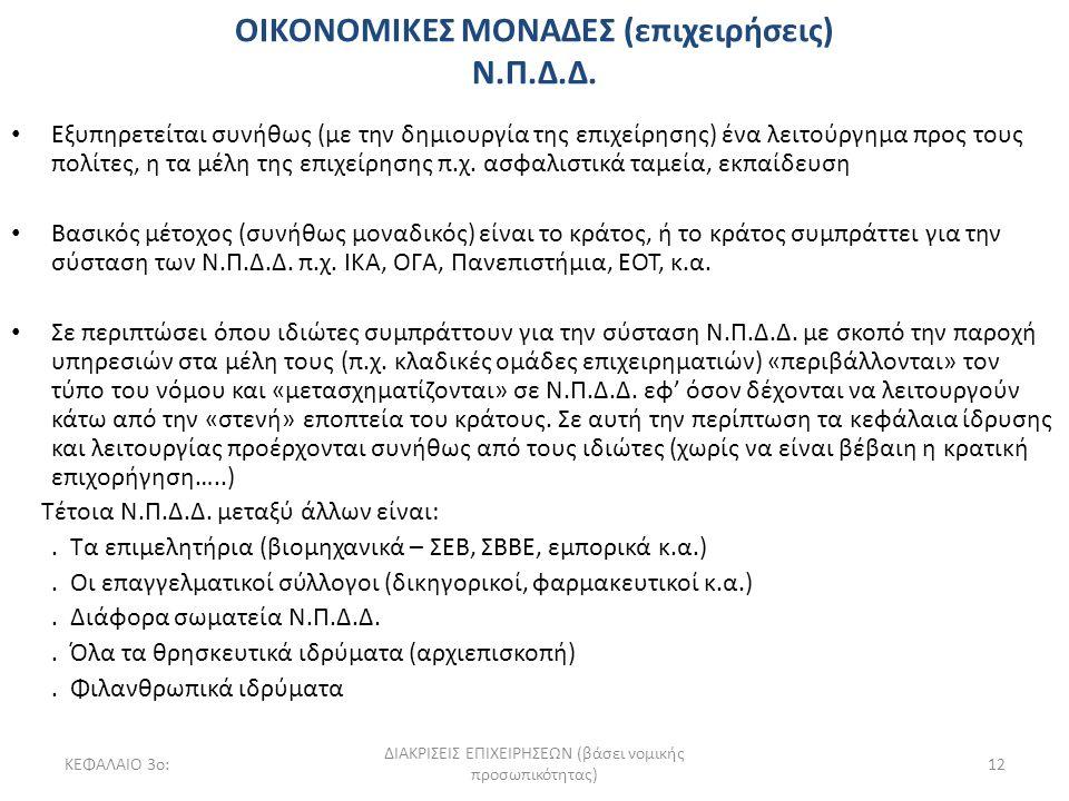 ΚΕΦΑΛΑΙΟ 3ο: ΔΙΑΚΡΙΣΕΙΣ ΕΠΙΧΕΙΡΗΣΕΩΝ (βάσει νομικής προσωπικότητας) 12 Εξυπηρετείται συνήθως (με την δημιουργία της επιχείρησης) ένα λειτούργημα προς τους πολίτες, η τα μέλη της επιχείρησης π.χ.