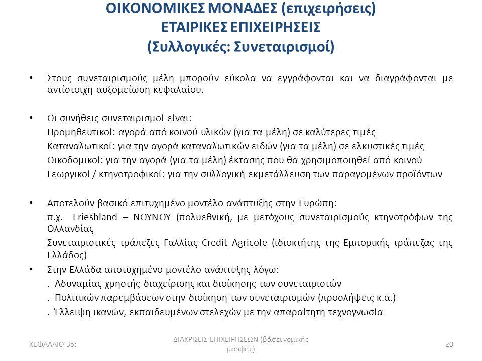 ΚΕΦΑΛΑΙΟ 3ο: ΔΙΑΚΡΙΣΕΙΣ ΕΠΙΧΕΙΡΗΣΕΩΝ (βάσει νομικής μορφής) 20 ΟΙΚΟΝΟΜΙΚΕΣ ΜΟΝΑΔΕΣ (επιχειρήσεις) ΕΤΑΙΡΙΚΕΣ ΕΠΙΧΕΙΡΗΣΕΙΣ (Συλλογικές: Συνεταιρισμοί) Σ