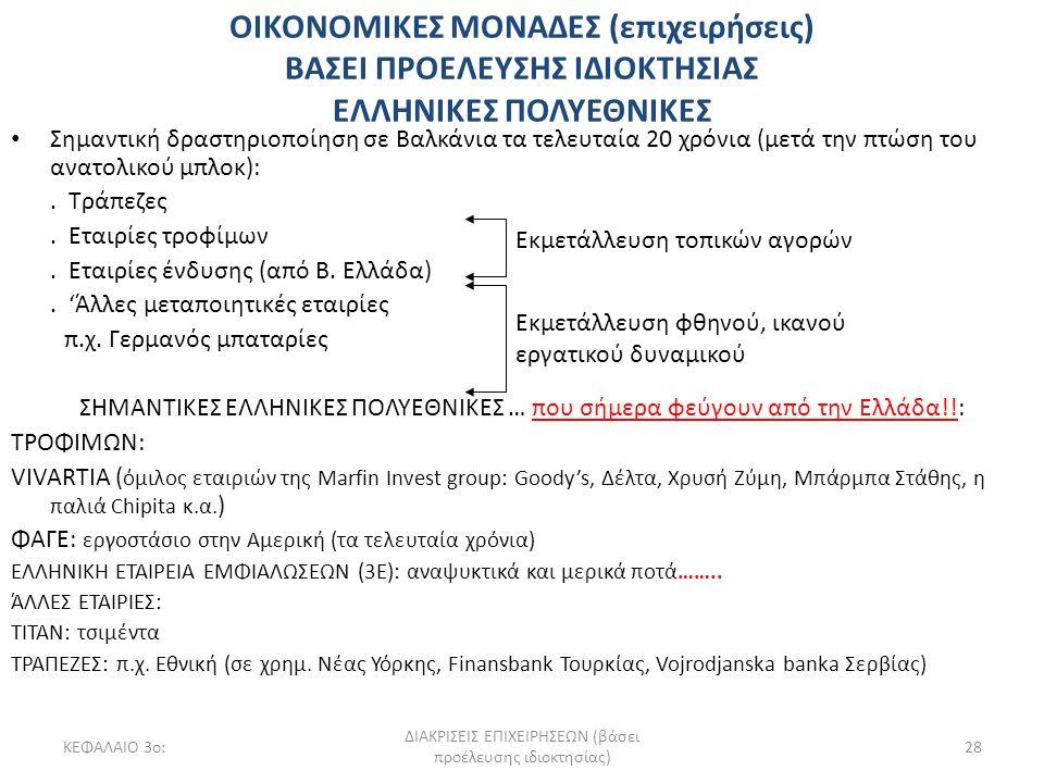 ΚΕΦΑΛΑΙΟ 3ο: ΔΙΑΚΡΙΣΕΙΣ ΕΠΙΧΕΙΡΗΣΕΩΝ (βάσει προέλευσης ιδιοκτησίας) 28 ΟΙΚΟΝΟΜΙΚΕΣ ΜΟΝΑΔΕΣ (επιχειρήσεις) ΒΑΣΕΙ ΠΡΟΕΛΕΥΣΗΣ ΙΔΙΟΚΤΗΣΙΑΣ ΕΛΛΗΝΙΚΕΣ ΠΟΛΥΕ