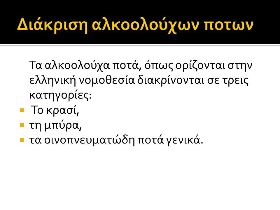 Τα αλκοολούχα ποτά, όπως ορίζονται στην ελληνική νομοθεσία διακρίνονται σε τρεις κατηγορίες:  Το κρασί,  τη μπύρα,  τα οινοπνευματώδη ποτά γενικά.