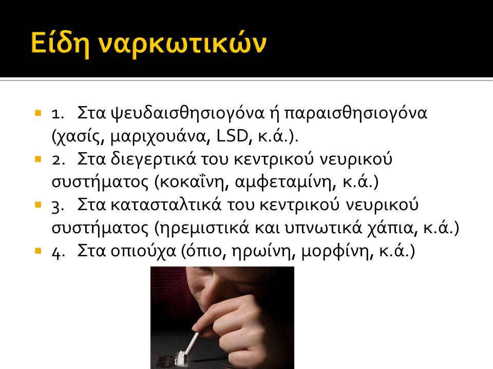  1.Στα ψευδαισθησιογόνα ή παραισθησιογόνα (χασίς, μαριχουάνα, LSD, κ.ά.).  2.Στα διεγερτικά του κεντρικού νευρικού συστήματος (κοκαΐνη, αμφεταμίνη,