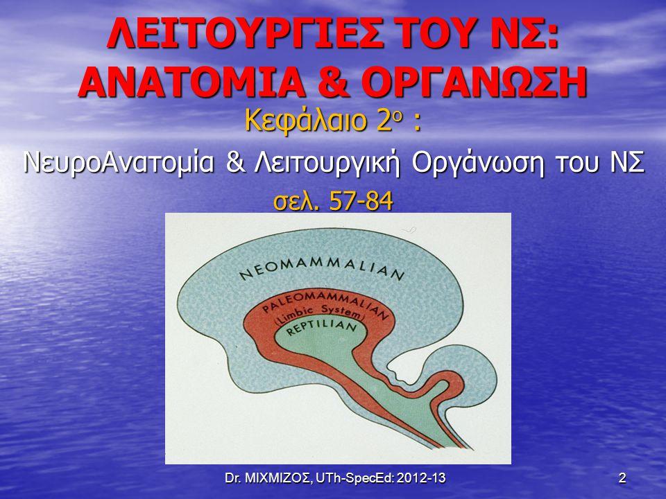 ΛΕΙΤΟΥΡΓΙΕΣ ΤΟΥ ΝΣ: ΑΝΑΤΟΜΙΑ & ΟΡΓΑΝΩΣΗ Κεφάλαιο 2 ο : ΝευροΑνατομία & Λειτουργική Οργάνωση του ΝΣ σελ. 57-84 Dr. ΜΙΧΜΙΖΟΣ, UTh-SpecEd: 2012-13 2