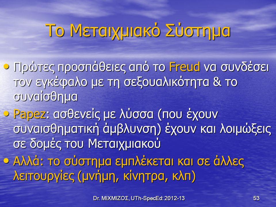 Το Μεταιχμιακό Σύστημα Πρώτες προσπάθειες από το Freud να συνδέσει τον εγκέφαλο με τη σεξουαλικότητα & το συναίσθημα Πρώτες προσπάθειες από το Freud ν