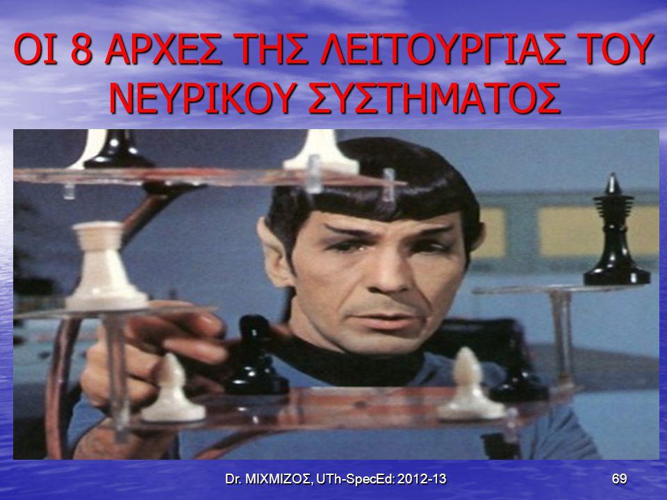 ΟΙ 8 ΑΡΧΕΣ ΤΗΣ ΛΕΙΤΟΥΡΓΙΑΣ ΤΟΥ ΝΕΥΡΙΚΟΥ ΣΥΣΤΗΜΑΤΟΣ Dr. ΜΙΧΜΙΖΟΣ, UTh-SpecEd: 2012-13 69