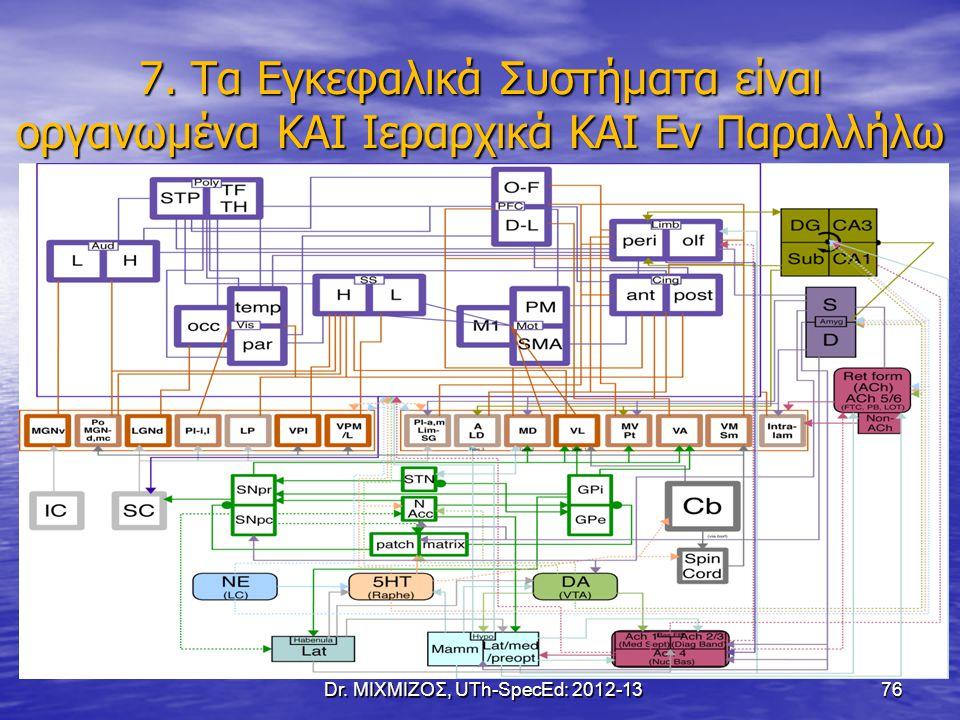 7. Τα Εγκεφαλικά Συστήματα είναι οργανωμένα ΚΑΙ Ιεραρχικά ΚΑΙ Εν Παραλλήλω Dr. ΜΙΧΜΙΖΟΣ, UTh-SpecEd: 2012-13 76
