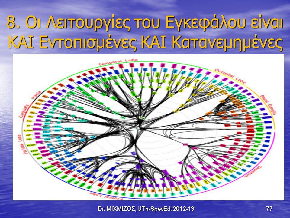 8. Οι Λειτουργίες του Εγκεφάλου είναι ΚΑΙ Εντοπισμένες ΚΑΙ Κατανεμημένες Dr. ΜΙΧΜΙΖΟΣ, UTh-SpecEd: 2012-13 77