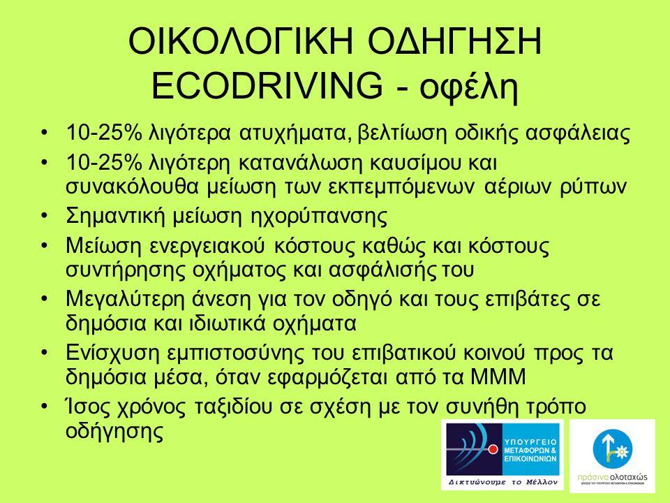 ΟΙΚΟΛΟΓΙΚΗ ΟΔΗΓΗΣΗ ECODRIVING - οφέλη 10-25% λιγότερα ατυχήματα, βελτίωση οδικής ασφάλειας 10-25% λιγότερη κατανάλωση καυσίμου και συνακόλουθα μείωση των εκπεμπόμενων αέριων ρύπων Σημαντική μείωση ηχορύπανσης Μείωση ενεργειακού κόστους καθώς και κόστους συντήρησης οχήματος και ασφάλισής του Μεγαλύτερη άνεση για τον οδηγό και τους επιβάτες σε δημόσια και ιδιωτικά οχήματα Ενίσχυση εμπιστοσύνης του επιβατικού κοινού προς τα δημόσια μέσα, όταν εφαρμόζεται από τα ΜΜΜ Ίσος χρόνος ταξιδίου σε σχέση με τον συνήθη τρόπο οδήγησης