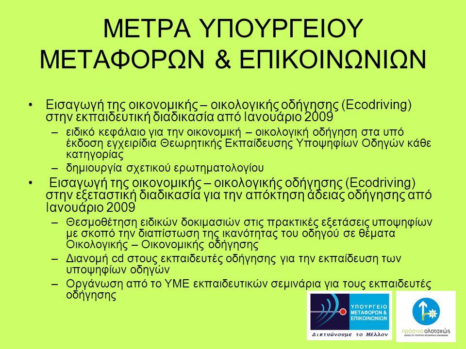 ΜΕΤΡΑ ΥΠΟΥΡΓΕΙΟΥ ΜΕΤΑΦΟΡΩΝ & ΕΠΙΚΟΙΝΩΝΙΩΝ Εισαγωγή της οικονομικής – οικολογικής οδήγησης (Ecodriving) στην εκπαιδευτική διαδικασία από Ιανουάριο 2009 –ειδικό κεφάλαιο για την οικονομική – οικολογική οδήγηση στα υπό έκδοση εγχειρίδια Θεωρητικής Εκπαίδευσης Υποψηφίων Οδηγών κάθε κατηγορίας –δημιουργία σχετικού ερωτηματολογίου Εισαγωγή της οικονομικής – οικολογικής οδήγησης (Ecodriving) στην εξεταστική διαδικασία για την απόκτηση άδειας οδήγησης από Ιανουάριο 2009 –Θεσμοθέτηση ειδικών δοκιμασιών στις πρακτικές εξετάσεις υποψηφίων με σκοπό την διαπίστωση της ικανότητας του οδηγού σε θέματα Οικολογικής – Οικονομικής οδήγησης –Διανομή cd στους εκπαιδευτές οδήγησης για την εκπαίδευση των υποψηφίων οδηγών –Οργάνωση από το ΥΜΕ εκπαιδευτικών σεμινάρια για τους εκπαιδευτές οδήγησης